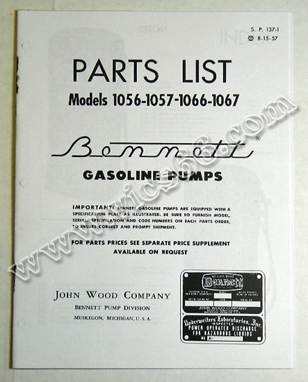 BK BEN1000MAN watermark bennett gas pump parts models 900 1000 1954 1956 vic's 66 gas