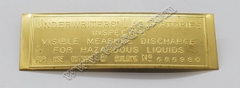 ID-164 Underwriters Lab Brass Embossed ID Tag for Visibles